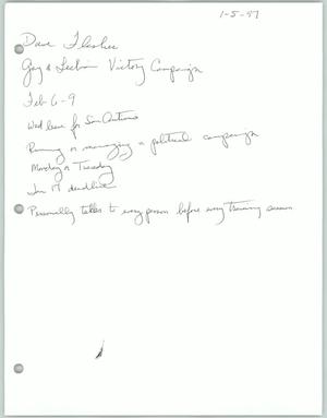 Primary view of object titled '[Handwritten notes about the Gay and Lesbian Victory Campaign]'.