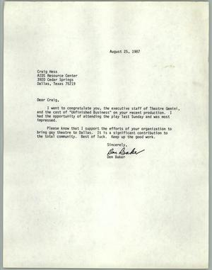 Primary view of object titled '[Letter from Don Baker of the AIDS Resource Center congratulating him for recent production]'.
