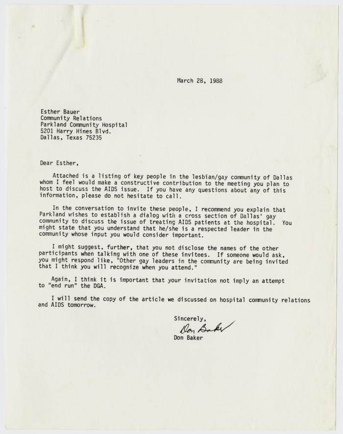 Letter to esther bauer from don baker concerning a future meeting on letter to esther bauer from don baker concerning a future meeting on the aids epidemic in dallas thecheapjerseys Image collections