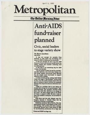 Primary view of object titled '[Clipping of Dallas Morning News: Anti-AIDS fund-raiser planned]'.