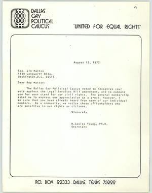 Primary view of object titled '[Letter and Article: Dallas Gay Political Caucus to Representative Jim Mattox]'.