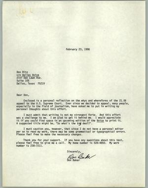 Primary view of object titled '[Letter from Don Baker to Don Ritz c/o The Dallas Voice]'.