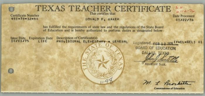 Don Baker Texas Teacher Certificate] - Digital Library