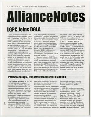 Primary view of object titled '[January and February 1998 edition of Alliance Notes, a publication of the Dallas Gay and Lesbian Alliance]'.