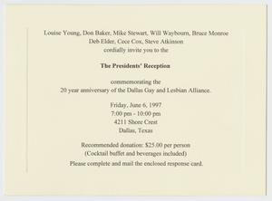 Primary view of object titled '[20 year anniversary of the Dallas Gay and Lesbian Alliance invitation]'.