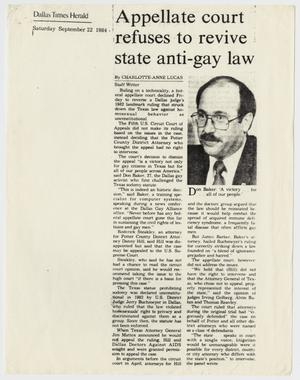 Primary view of object titled '[Dallas Times Herald: Appellate court refuses to revive state anti-gay law]'.