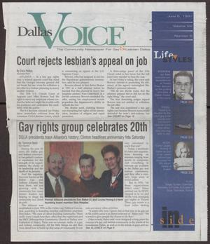 Primary view of object titled '[Dallas Voice clippings: Court rejects lesbian's appeal on job; Gay rights group celebrates 20th]'.