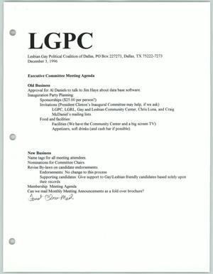 Primary view of object titled '[Lesbian Gay Political Coalition executive committee meeting agenda for December 1996]'.