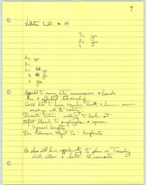 Primary view of object titled '[Handwritten notes about Velleta Lill]'.