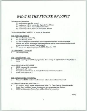 Primary view of object titled 'What is the future of LGPC?'.