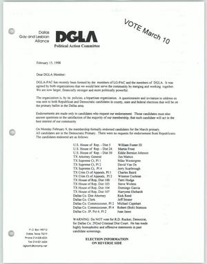 Primary view of object titled '[Letter to Dallas Gay and Lesbian Alliance members concerning political endorsements of their Political Action Committee]'.