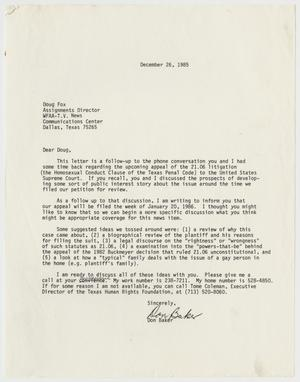 Primary view of object titled '[Letter  from Don Baker to Doug Fox]'.