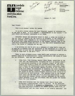 Primary view of object titled '[Letter from Lambda Legal Defense and Education Fund to members concerning the nomination of a Supreme Court Judge]'.