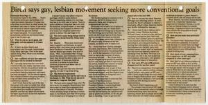 Primary view of object titled '[Newspaper Clipping: Birch says gay, lesbian movement seeking more conventional goals]'.