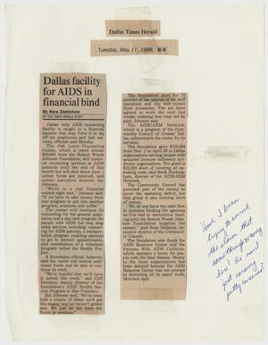 Primary view of object titled '[Clipping from Dallas Times Herald: Dallas facility for AIDS in financial bind]'.