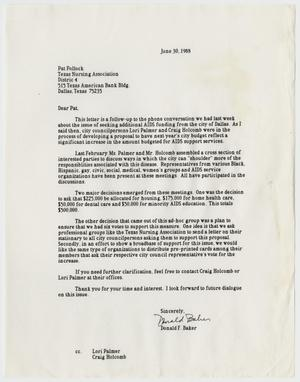 Primary view of object titled '[Letter from Don Baker to Pat Pollock concerning funding for AIDS support services]'.
