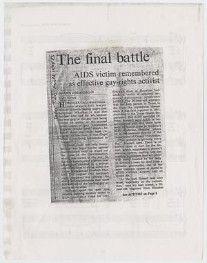 Primary view of object titled '[Clipping from Dallas Times Herald: The final battle; AIDS victim remembered as effective gay-rights activist]'.