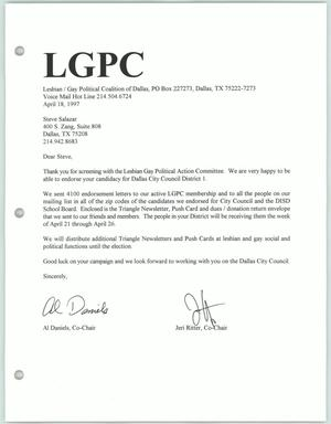Primary view of object titled '[Letter from Al Daniels and Jeri Ritter to Steve Salazar accepting his bid for an endorsement from the Lesbian Gay Political Coalition]'.