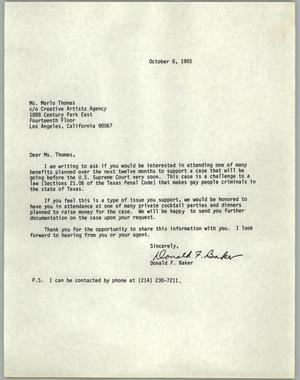 Primary view of object titled '[Letter from Donald F. Baker inviting Ms. Marlo Thomas to a fundraiser]'.