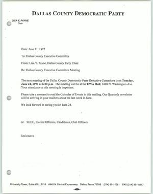 Primary view of object titled '[Meeting information from the Dallas County Democratic Party to Al Daniels]'.