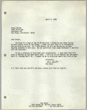 Primary view of object titled '[Letter from Don Baker to Bruce Adams]'.