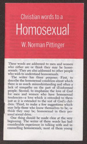 Primary view of object titled '[Pamphlet: Christian words to a homosexual]'.
