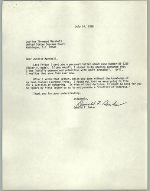 Primary view of object titled '[Letter from Don Baker to Justice Thurgood Marshall about Baker v. Wade]'.