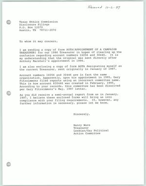 Primary view of object titled '[Letter from Nancy Ware to the Texas Ethics Commission concerning paperwork for treasurer of the Lesbian Gay Political Action Committee]'.