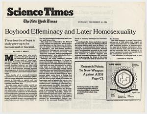 Primary view of object titled '[New York Times clipping: Boyhood Effeminacy and Later Homosexuality]'.