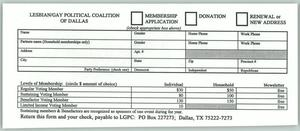 Primary view of object titled '[Lesbian and Gay Political Coalition of Dallas membership and donation form]'.