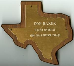 Primary view of object titled '[Don Baker Grand Marshal 1986 Texas Freedom Parade plaque]'.