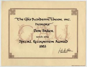 Primary view of object titled '[Award of Special Recognition to Don Baker from The Gay Academic Union]'.