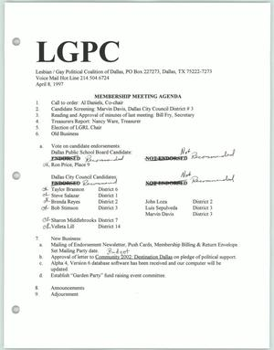 Primary view of object titled '[Lesbian Gay Political Coalition membership meeting agenda for April 1997]'.
