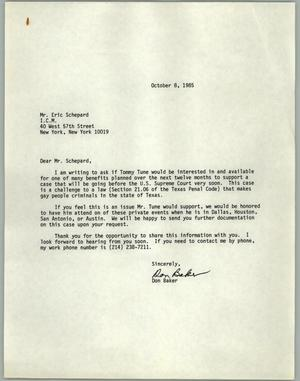 Primary view of object titled '[Letter from Don Baker inviting Tommy Tune to a fundraiser]'.
