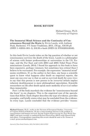 Primary view of object titled 'Book Review: The Immortal Mind: Science and the Continuity of Consciousness Beyond the Brain'.