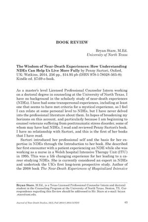 Primary view of object titled 'Book Review: The Wisdom of Near-Death Experiences: How Understanding NDEs Can Help Us Live More Fully'.