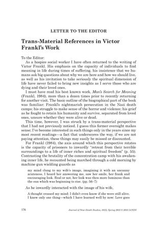 Primary view of object titled 'Letter to the Editor: Trans-Material References in Victor Frankl'.