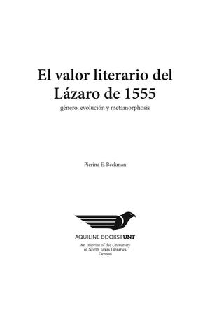 Primary view of object titled 'El valor literario del Lázaro de 1555: género, evolución y metamorfosis'.