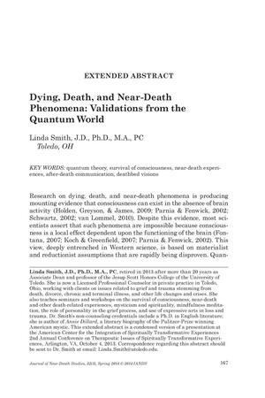 Primary view of object titled 'Extended Abstract: Dying, Death, and Near-Death Phenomena: Validations from the Quantum World'.