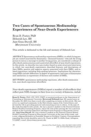 Primary view of object titled 'Two Cases of Spontaneous Mediumship Experiences of Near-Death Experiencers'.