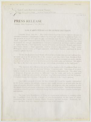 Primary view of object titled '[Press Release: Log Cabin-Texas lauds Romer decision]'.