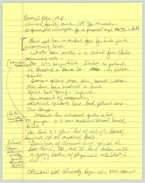 Primary view of object titled '[Handwritten notes: Perry G. Pate interview]'.