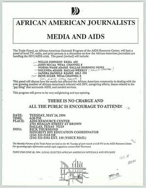 Primary view of object titled '[Press Release: African American Journalist Media and AIDS]'.