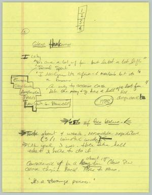 Primary view of object titled '[Handwritten Notes: Glenn Harkwew]'.