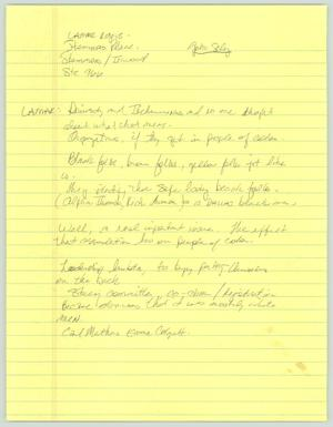 Primary view of object titled '[Handwritten notes: Lamar Rogers Script]'.