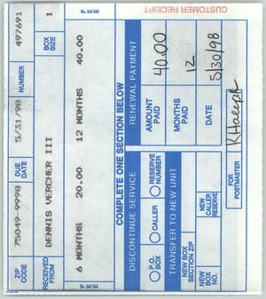 Primary view of object titled '[Receipt: P.O. Box payment]'.