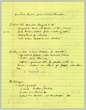 Primary view of object titled '[Handwritten Notes: Brian Prado of the National Viatical Association]'.