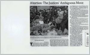 Primary view of object titled '[Copy of newspaper article entitled Abortion: The Justices' Ambiguous Move]'.