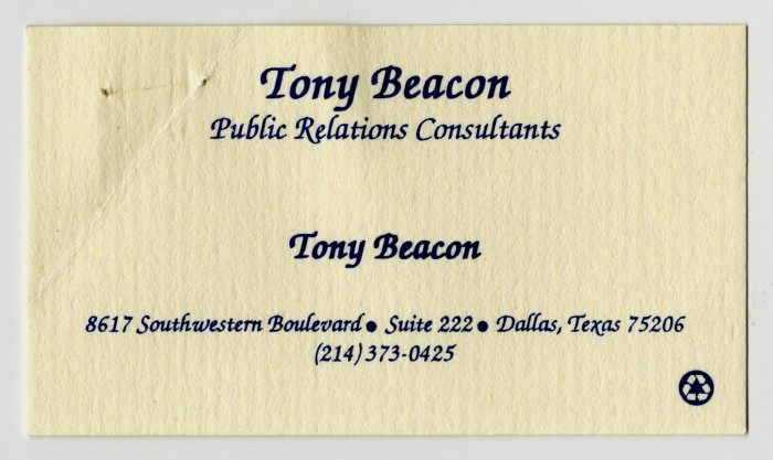Business card tony beacon public relations consultants digital primary view of object titled business card tony beacon public relations consultants colourmoves