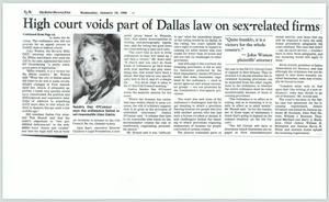 Primary view of object titled '[Copy of Newspaper: High court voids part of Dallas on sex-related firms]'.
